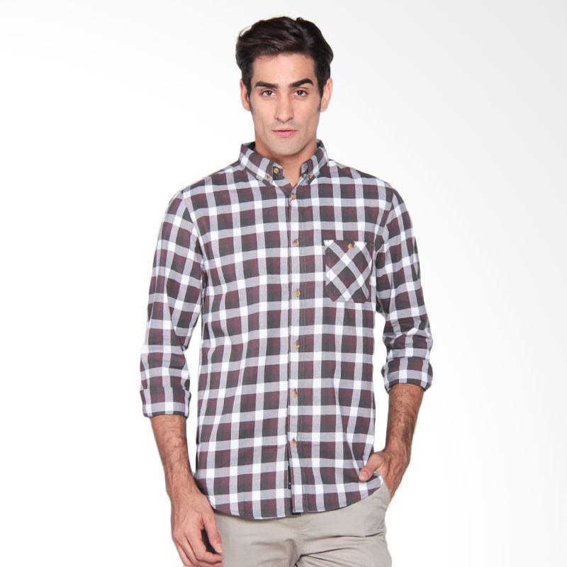 Famo Relaxed Classic Shirt Kemeja Pria - Grey 509031711