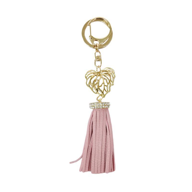 SIV Key Chain Leather Kulit S plus Diamond Gantungan Kunci - Pink [KSL04]