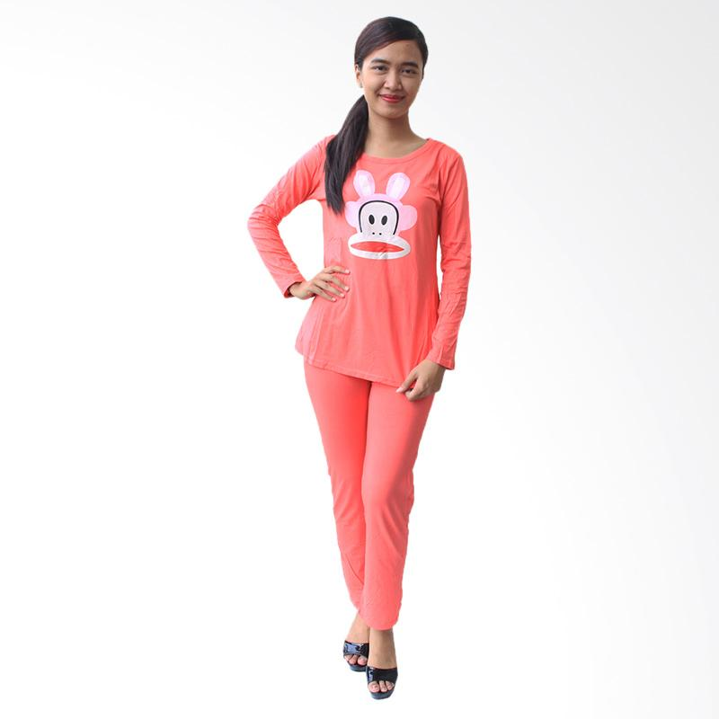 Aily 2688 Setelan Baju Tidur Wanita Lengan Panjang - Peach