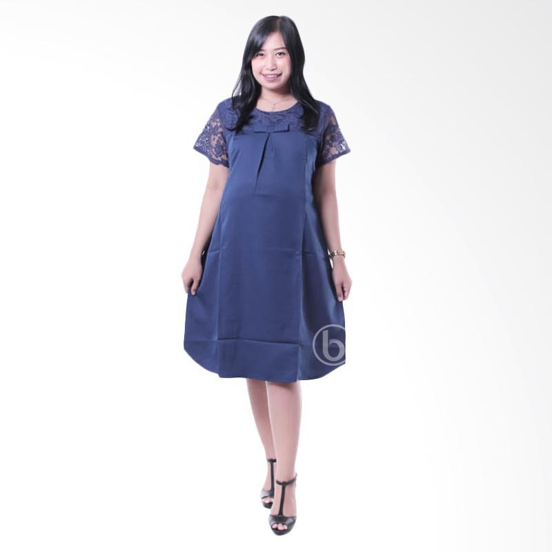 harga Mama Hamil DRO 794 B Brokat Pesta Pita Celine Baju Dress Hamil Menyusui - Biru Blibli.com