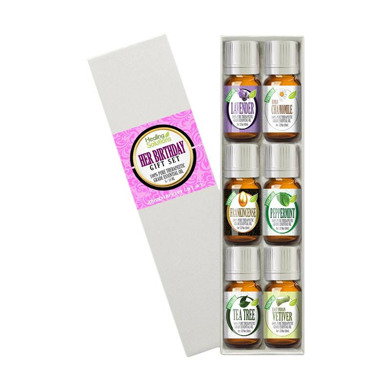 Healing Solutions Birthday Gift for Her Set 100% Pure, Best Therapeutic Grade Essential Oil Kit - 10mL