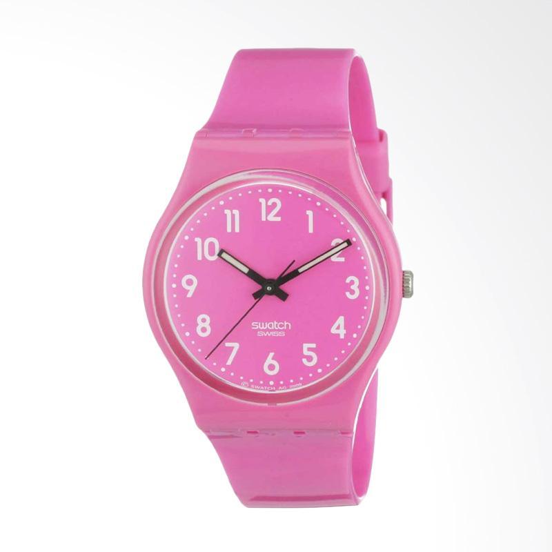 Swatch Women's GP128 Quartz Plastic Pink Dial Watch Jam Tangan Wanita