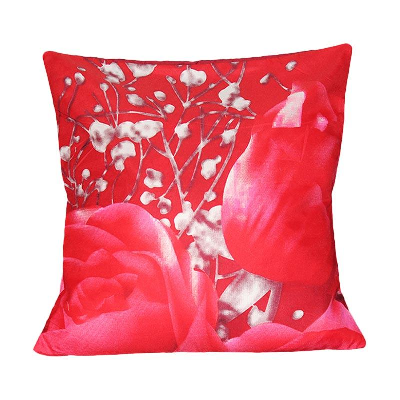Monalisa Motif Tulip Sarung Bantal Sofa - Merah [30 cm]