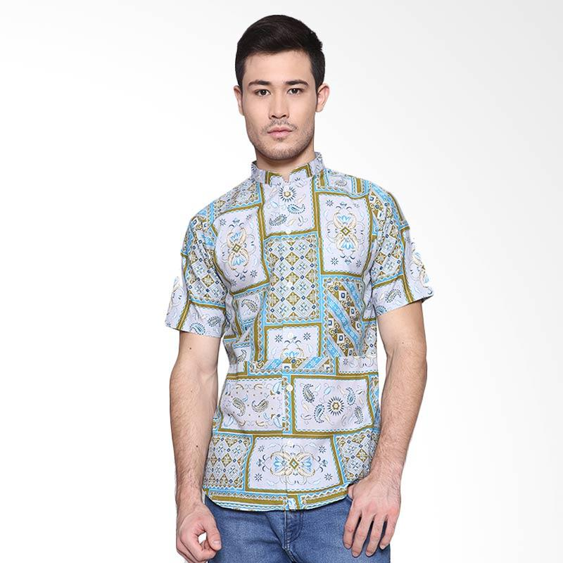 Days by Danarhadi Men Kotak Asimetris Collarless Menshirt Pale Batik Pria - Tosca