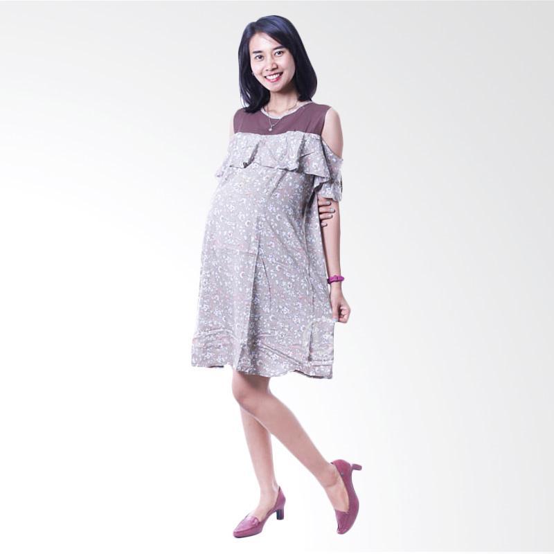 harga Mama Hamil DRO 845 Agrista Layer Bunga Cantik Dress Hamil dan Menyusui - Coklat Blibli.com