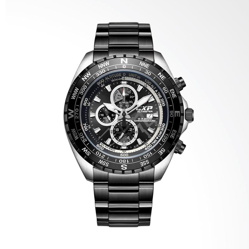 Expedition Chronograph Silver Black Stainless Steel Jam Tangan Pria EXP6739MCBEPBA