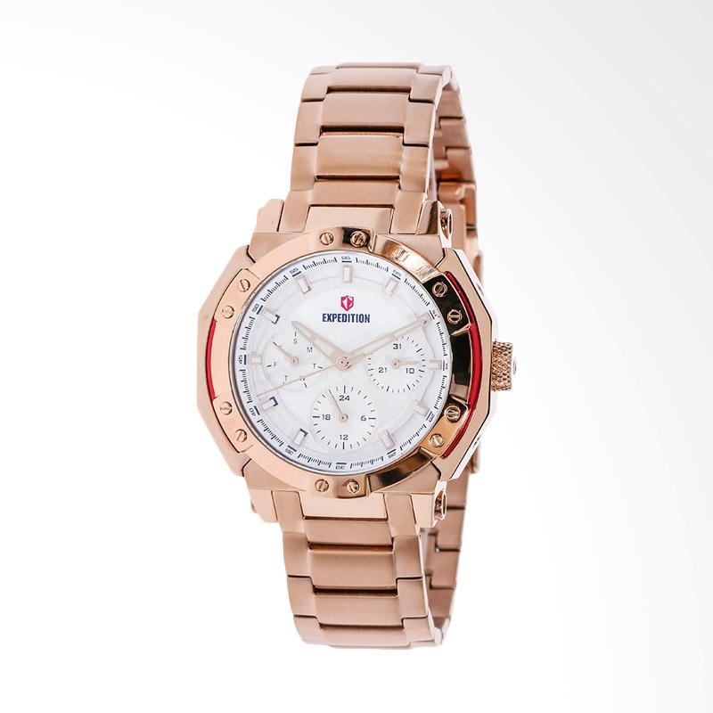 Expedition Sport White Dial Stainless Steel EXF-6385-BFBRGSL Jam Tangan Unisex - Rose Gold