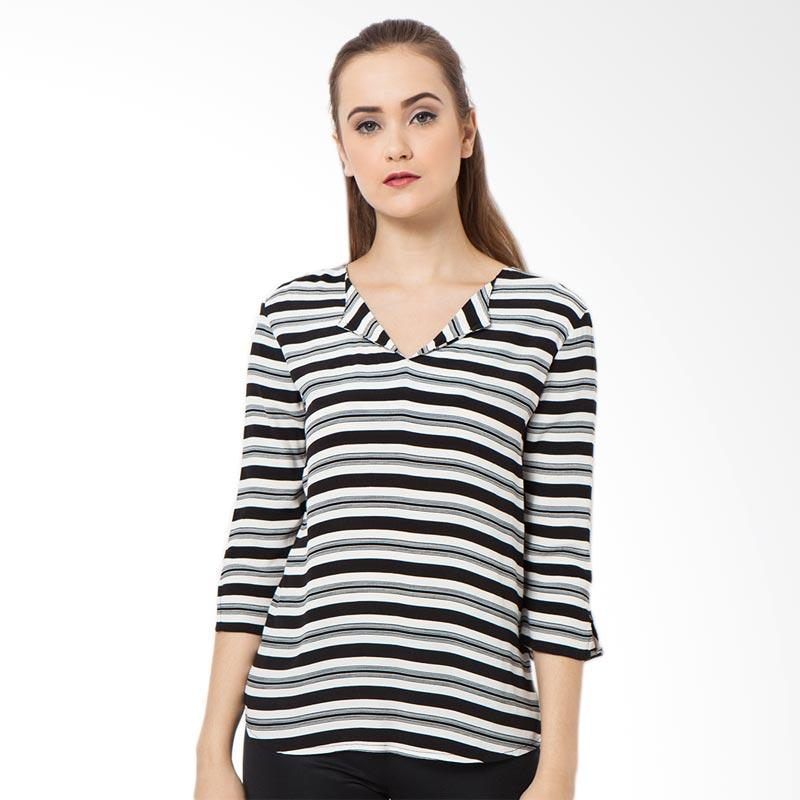 A&D MS 615 Blouse 3/4 Sleeve - Black White