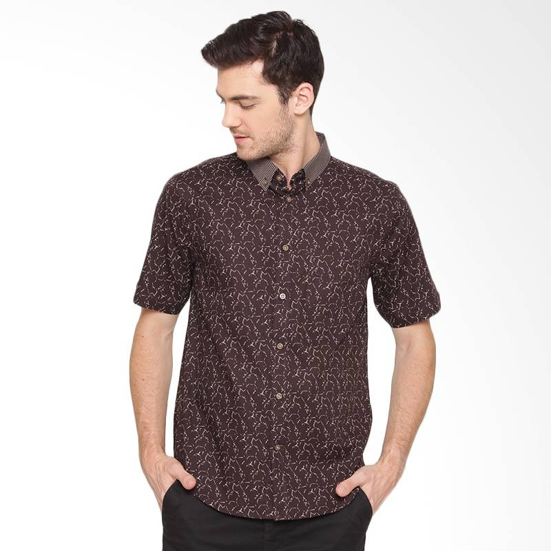 A&D Fashion Mens Shirt Short Slevee Kemeja Pria - Brown [Ms 953]
