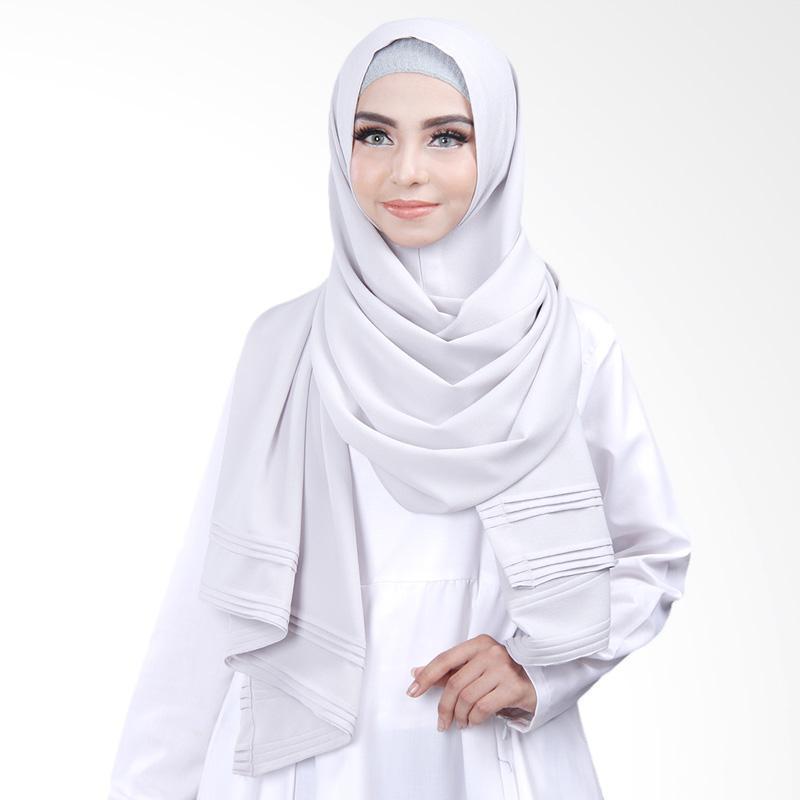 Cantik Kerudung Khloe Pleated Shawl Jilbab Instant - No.5 Light Grey