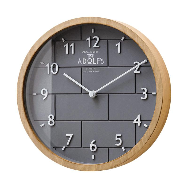 Zeller Life Round Simple Brick Style Lclif Modern Home Decor Wall Clock - Grey