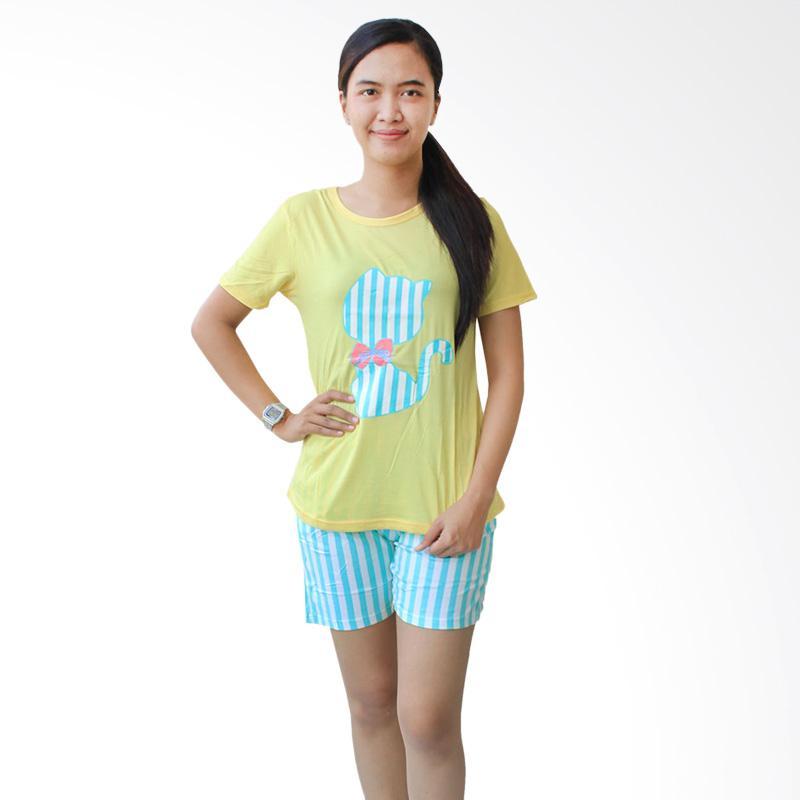 Aily 59 Setelan Baju Tidur Celana Pendek Wanita - Kuning