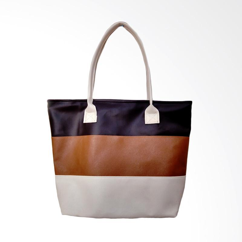 Donker Tricolor Strap Tote Bag - Beige