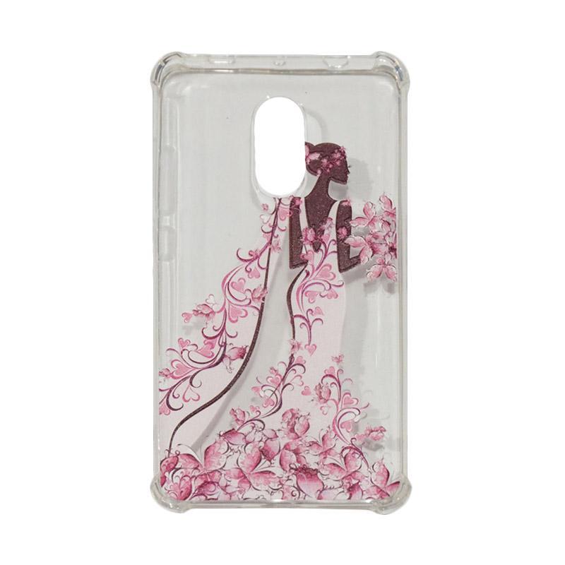 QCF Softcase Anti Crack Anti Shock Xiaomi Silicone Casing Gambar Wanita Gaun Pink + FREE Bumper Karet Animasi Random for Xiaomi Redmi Note 4X