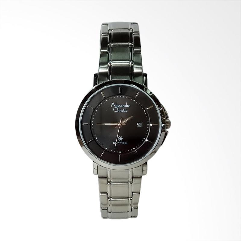 Alexandre Christie AC8545LD Sapphire Silver Stainless Steel Dial Jam Tangan Wanita - Black