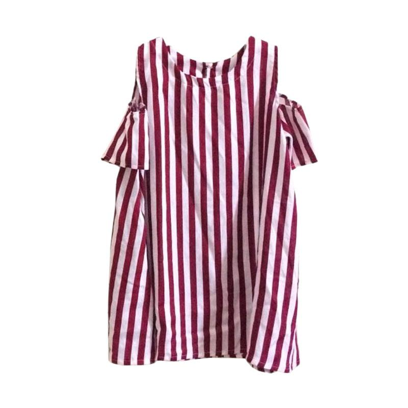 Kirana Kids Wear Selena Dress Anak - Red Stripe