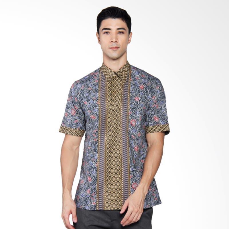 Batik Heritage Katun Premium Bunga Kawung Kecil Slim Fit Kemeja Pria Lengan Pendek -  Biru