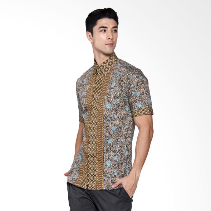 Batik Heritage Katun Premium Bunga Kawung Kecil Slim Fit Kemeja Pria Lengan Pendek - Hijau