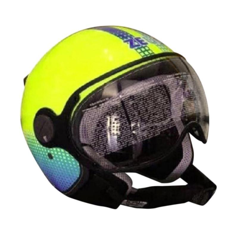 Zeus ZS-210K DD82 Grafik Helm Half Face - Kuning Stabilo Biru