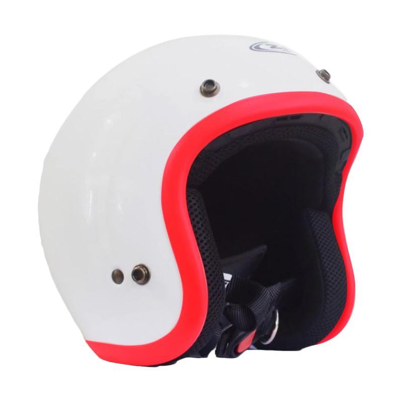 Zeus Retro ZS-385C Polos Helm Half Face - Putih List Merah