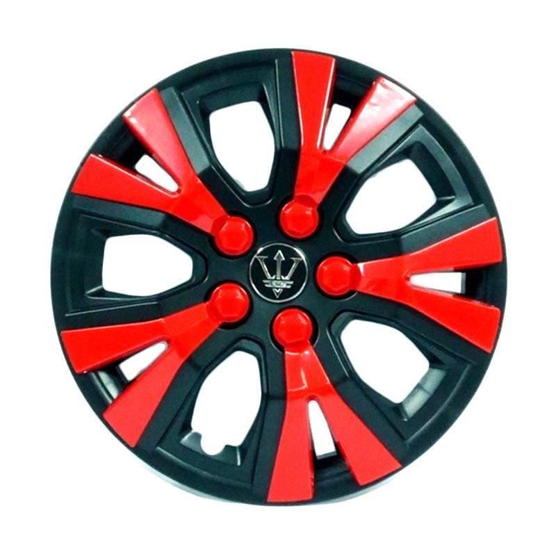 SIV WAY-1RD-14 Inch Sport Wheel Cover Evolution Design Dop Roda Mobil - Black Red