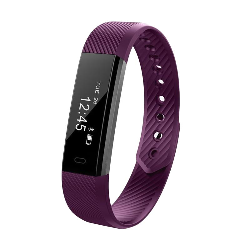 harga SOXY ID115Lite CC0384P Smart Bracelet TPE Material Anti-Theft Camera Phone Search Device LED Screen Wrist Smartwatch - Purple Blibli.com