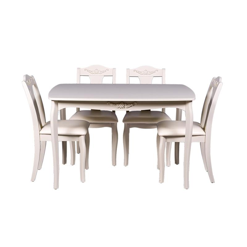 Thema Home 0930 Perth Dining Set - White[ Wilayah Surabaya ]