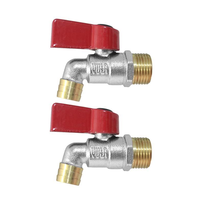 YUTA Bibcock BR BCBS Kran Air Keran - Red [3/4 Inch / 2 pcs] + Free 1 Seal Tape 25 mm Silver