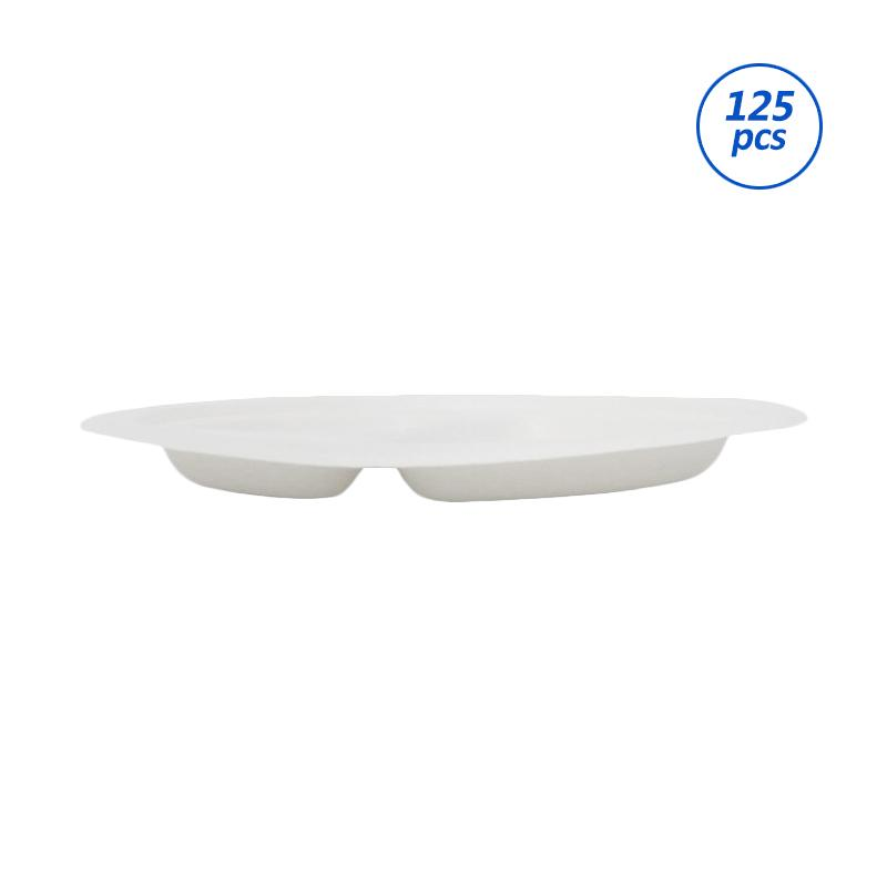 Avani Bagasse Edge Plate [9 Inch/ 3 Compartment/ 125 Pcs]