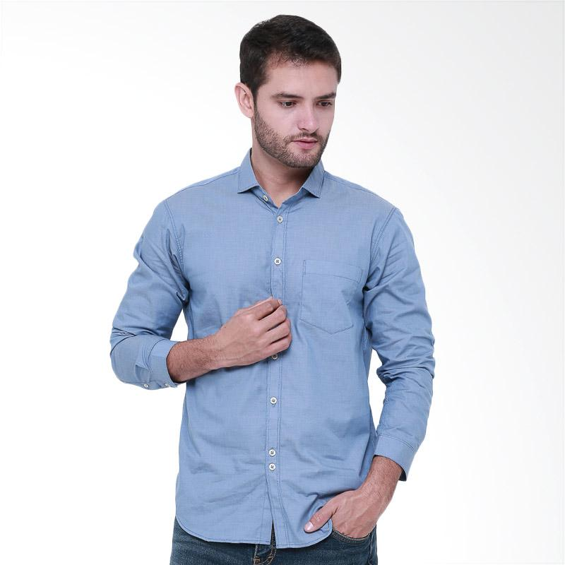 Tendencies Shirt Plain Denim Kemeja Pria - Blue