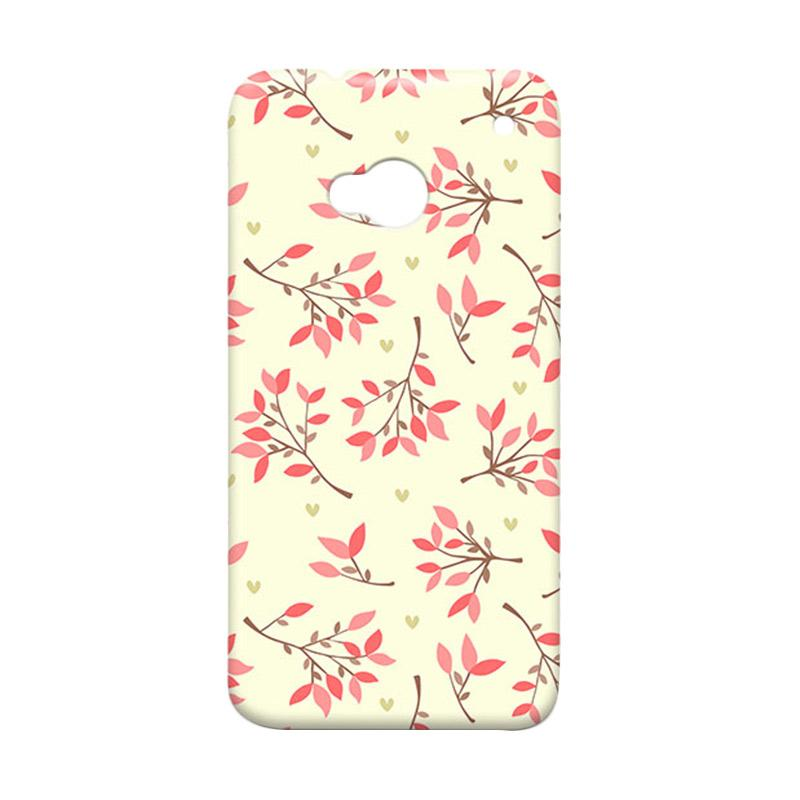 Premiumcaseid Case Cute Floral Seamless Shabby Hardcase Casing for HTC One M7