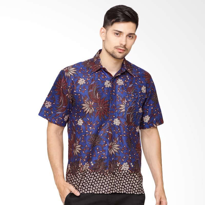 Jening Batik Short Sleeves Kemeja Batik Pria - Blue [HR-057]
