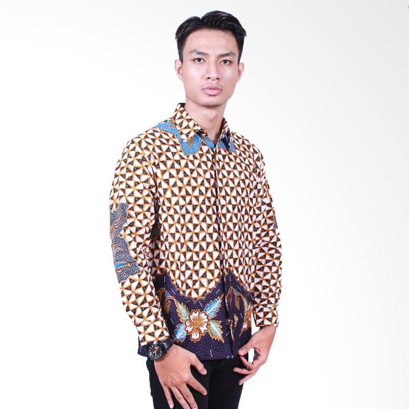 Batik Putri Ayu Solo Lengan Panjang KPJ500 Kemeja Batik Pria - Biru