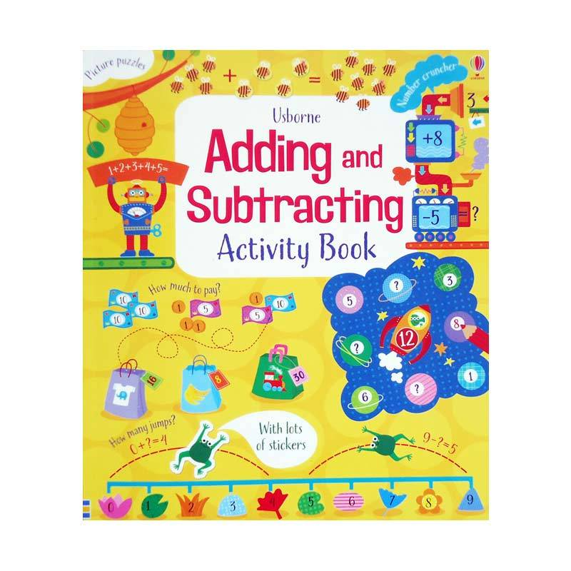 Genius Usborne Adding and Subtracting Activity Book with lots of stickers Buku Anak