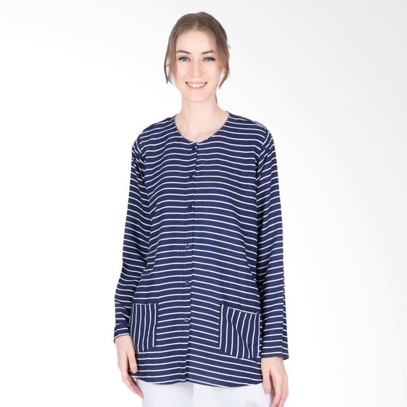 Tendencies Adeline Shirt Kemeja Atasan Wanita - Navy