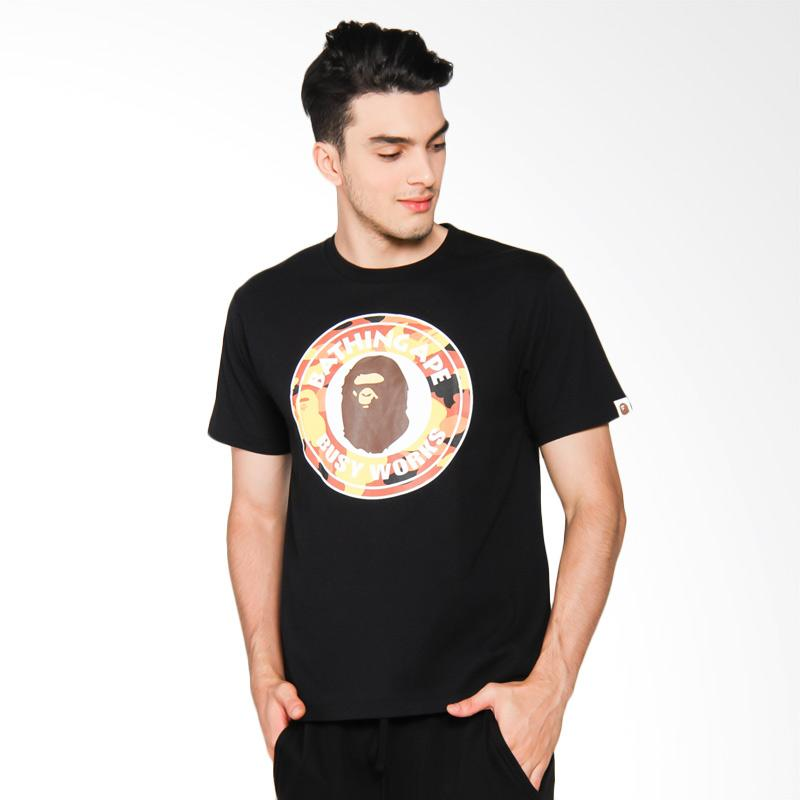 A Bathing Ape 1st Camo Busy Works Kaos Pria - Black Orange