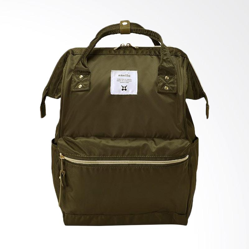Anello Glossy Poly Twill Backpack Tas Ransel Casual Multifungsi - Khaki