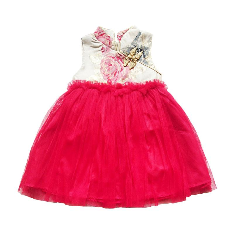 harga Flower Kids Flower Tutu Dress Cheongsam Anak - Cream Red Blibli.com