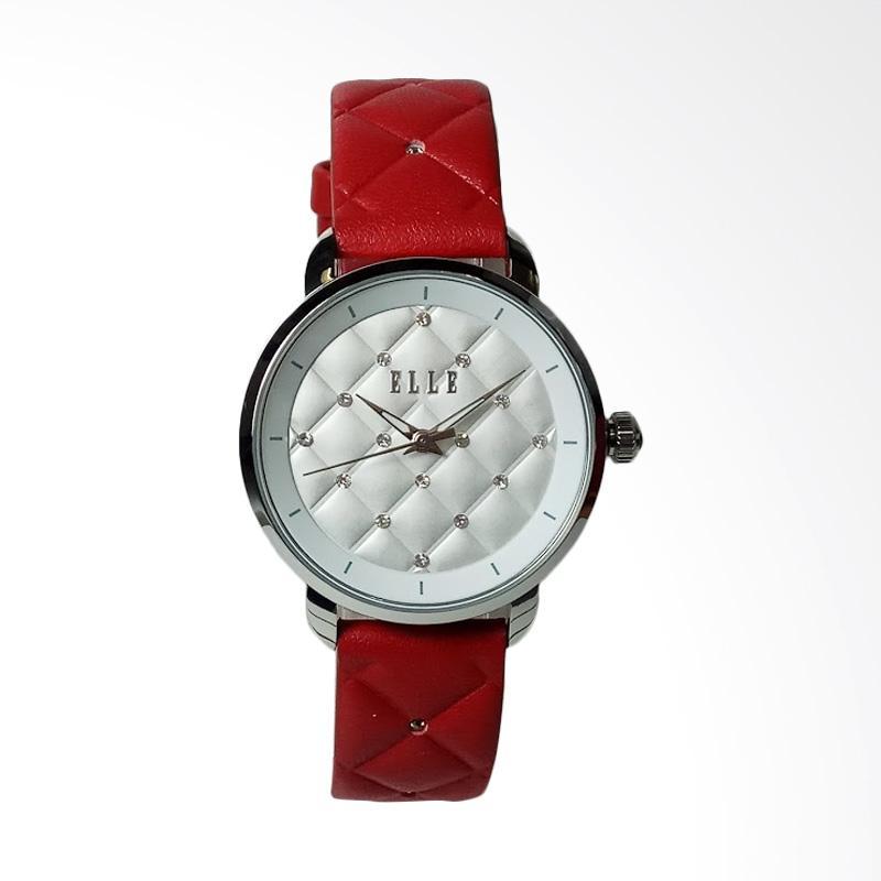Jual Elle EL20436S07N Stainless Steel Leather Jam Tangan Wanita - Silver Red Online - Harga &