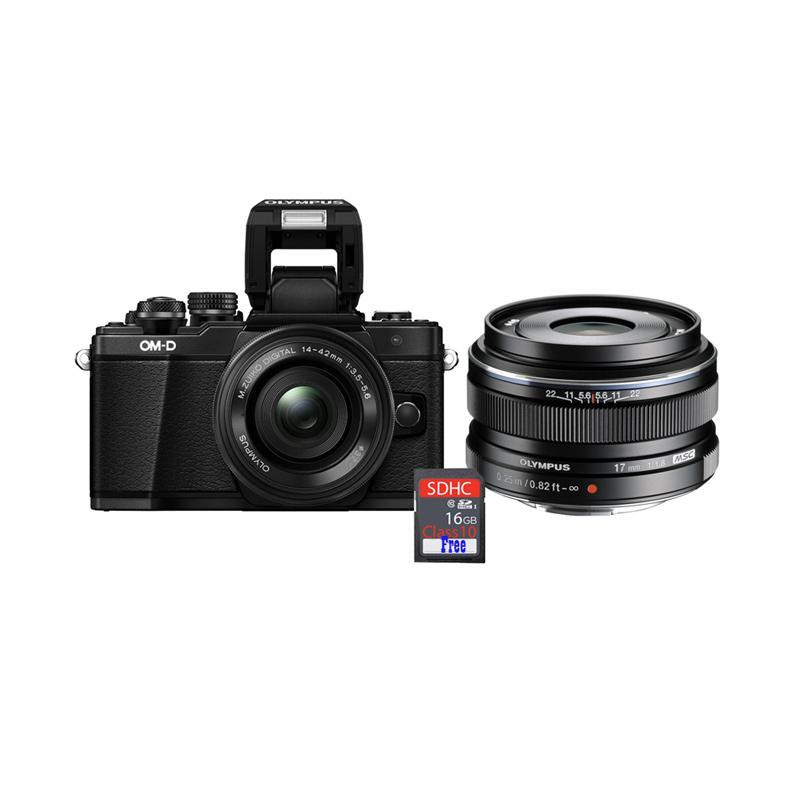 harga Olympus OMD EM10 MARK II KIT 14-42mm EZ + Lens 17mm f1.8 Kamera Mirrorless + Free SDHC 16GB - Black Blibli.com