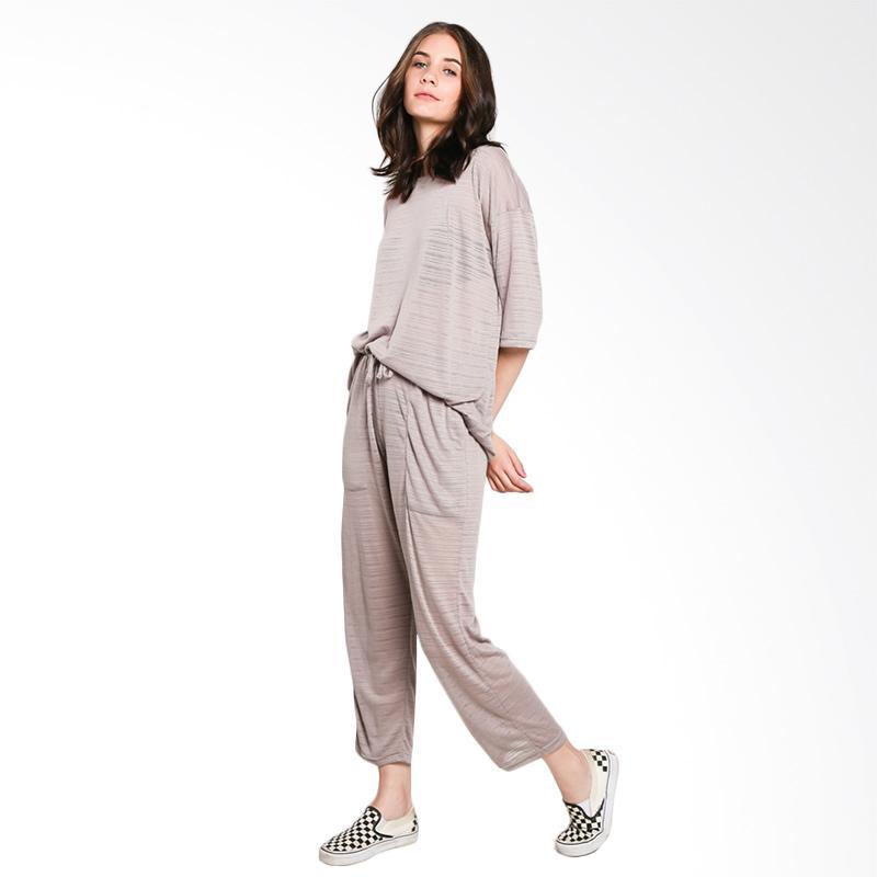 Nikicio Jalur T-Shirt Wanita - Sheer Brown