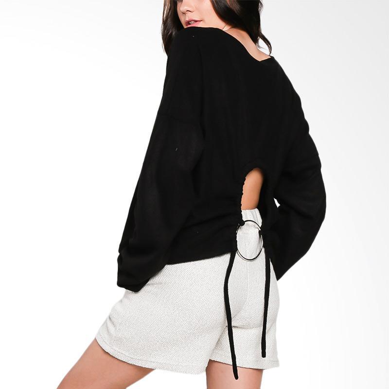 Nikicio Celah Sweater Wanita – Black