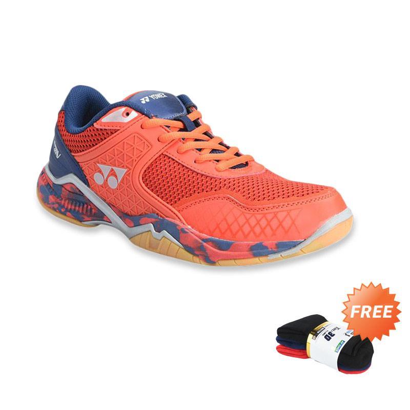 YONEX Super Ace V Sepatu Badminton Pria Red Navy Free Yonex Men s Socks SSMP 1855S 3B SR