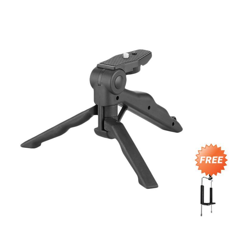 Jual 2 in 1 Portable Mini Folding Tripod for DSLR - Black + Free Holder U For Smartphone Online - Harga & Kualitas Terjamin | Blibli.com