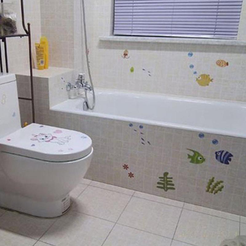 Fs Bluelans Bathroom Cartoon Fish Wallpaper Baby Kids Room Decal Art Wall Sticker Decor