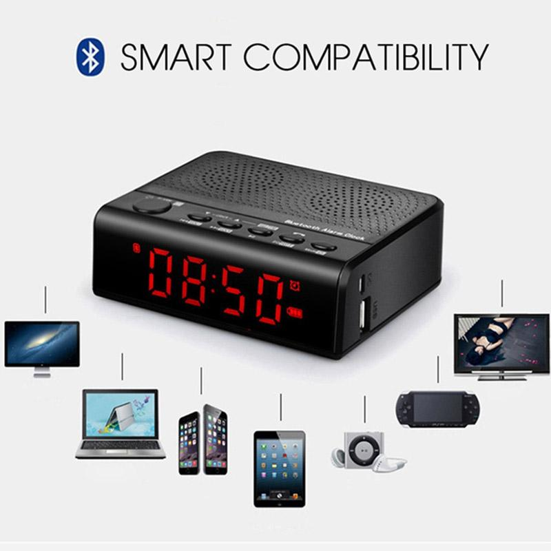Desktop Bluetooth Speaker Wireless Stereo Alarm Clock Speakers with FM