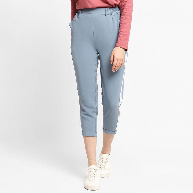 Osella Ladies Celana Panjang Wanita Capri Stripe Blue