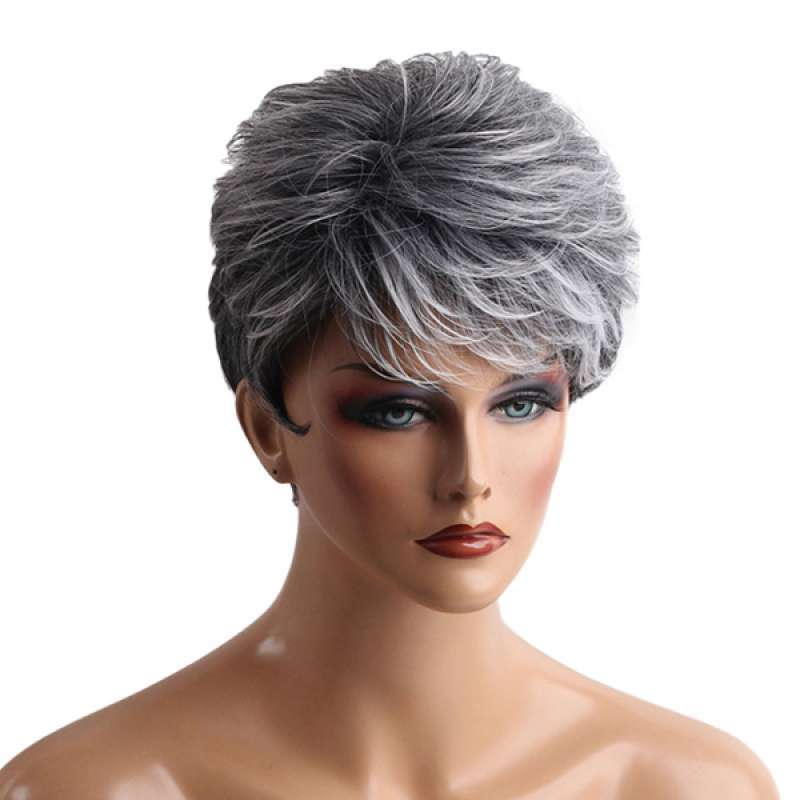 Jual Oem Grey Short Hair Wig Heat Resistant Synthetic Hair Fashion Wig With Wig Cap Online Desember 2020 Blibli
