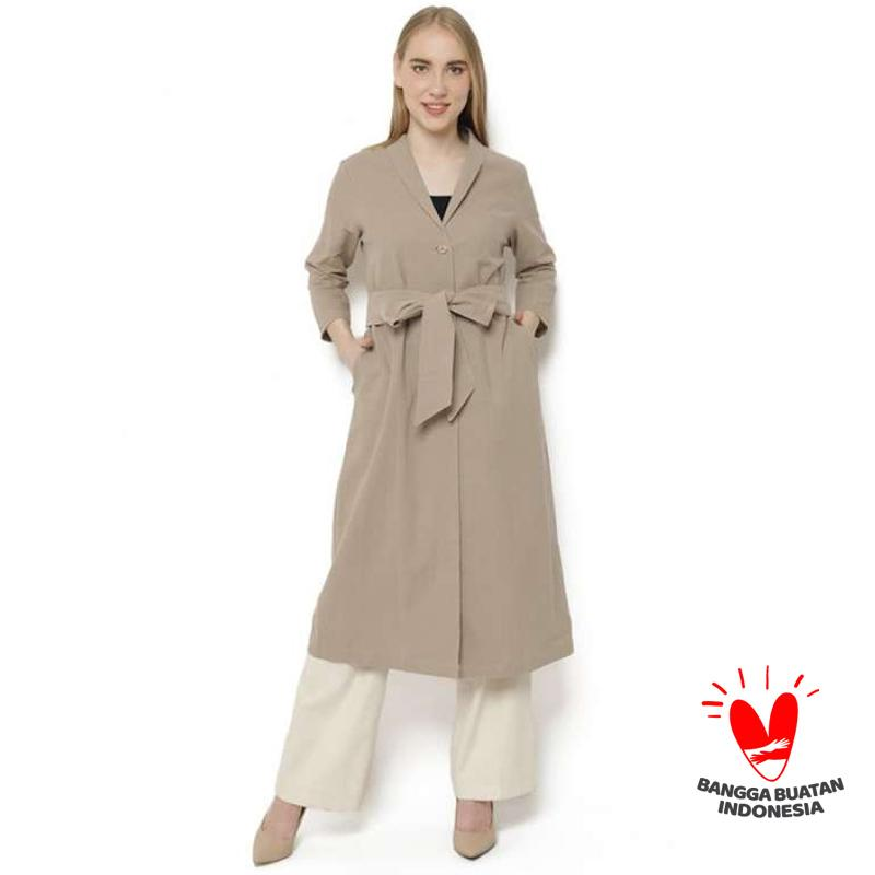 EMNES Knot Long Outer Coat Wanita