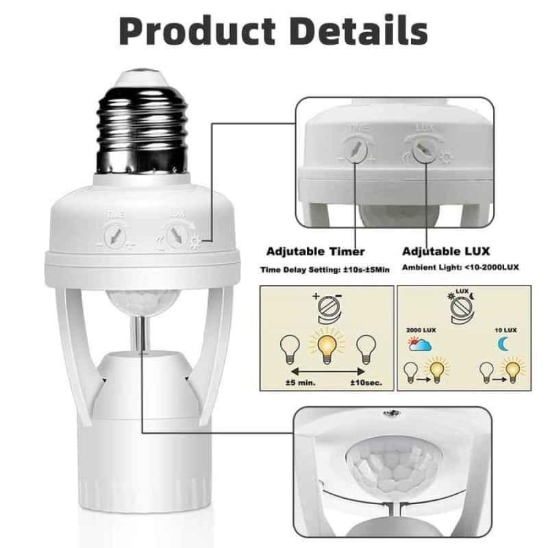 Jual Fitting Lampu Led E27 Dengan Sensor Gerak Infrared Pir 110 240v Online Mei 2021 Blibli